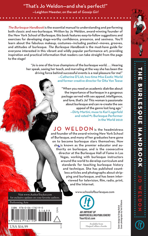 Back Cover of The Burlesque Handbook by Jo Weldon